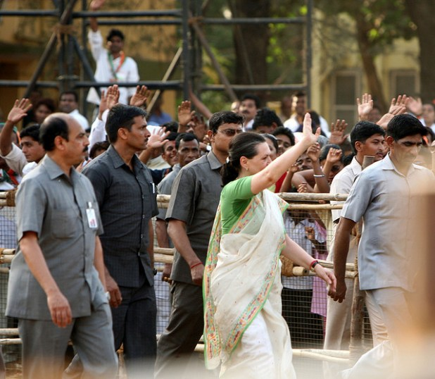 Sonia Gandhi waves to supporters at a rally. (Photo by Al Jazeera ENglish, Creative Commons License)