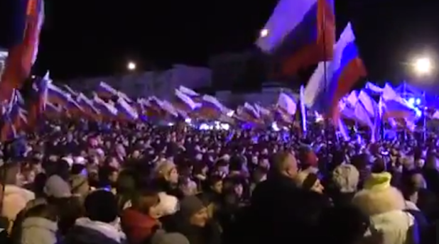 Pro-Russia crowds celebrate Crimea's accession to Russian Federation following March 16 controversial referendum. (Photo from video stream)