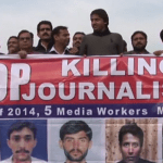 Pakistani journalists protesting attacks on media persons.