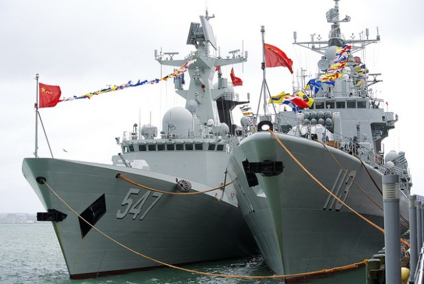Chinese naval ships docked at one of its naval bases. ping.shakl