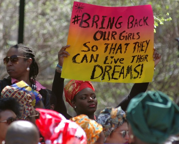 Hudreds of people gathered at Union Square in New York City on May 3 to demand the release of some 230 schoolgirls abducted by Boko Haram insurgents in Nigeria. (Photo by  Michael Fleshman, Creative Commons License)
