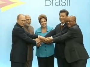 BRIC leaders at the summit meeting in Brazil. (Photo via videostream)