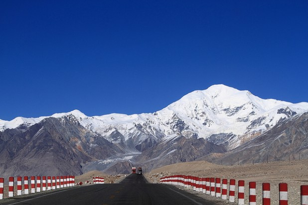 Karakoram Highway, also known as KKH, on the Chinese side.  Built on the old Silk Route, KKH connects China with Pakistan. (Photo by Keith Tan, Creative Commons License)