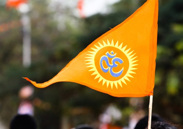Hindutva's saffron flag. (Photo by Bharath Joshi, Creative Commons License)