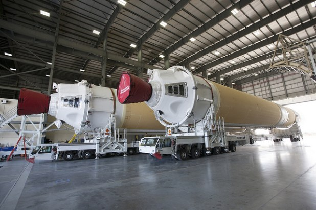 Two of the three United Launch Alliance Delta IV heavy boosters for NASA's upcoming Exploration Flight Test-1, or EFT-1, mission with the Orion spacecraft. (NASA photo by Kim Shiflett, Creative Commons License)