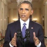 President Barack Obama addreessing the nation in a prime time speech. (Photo from White House video stream)