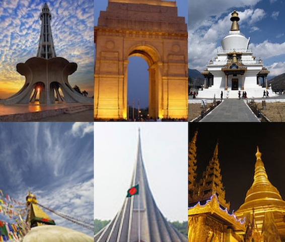 (L to R) National monuments of Pakistan, India, Bhutan, Nepal, Bangladesh and Myanmar. (Image by ViewsWeek via Creative Commons photos)