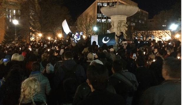 Hundreds of people attended the vigil in Washington DC. (Photo by Geo Yousafzai, Facebook post)