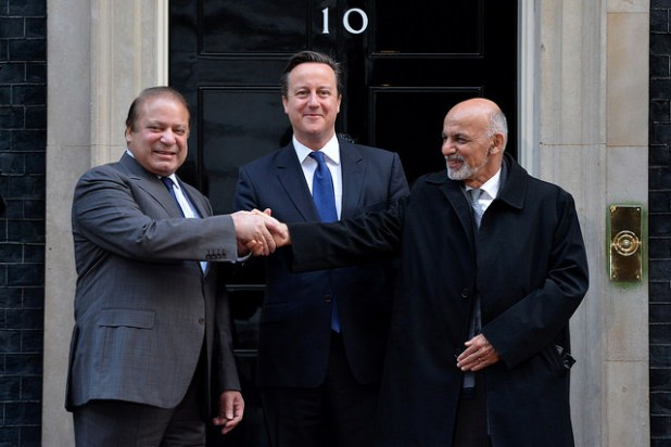 UK Prime Minister David Cameron hosted Afghan President, Ashraf Ghani, Afghan Chief Executive Abdullah Abdullah, and Pakistan Prime Minister Nawaz Sharif at No 10 on December 5, 2014, Crown Copyright photo by  Arron Hoare, Creative Commons License)