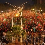 A view of the opposition Pakistan Tehrik-e-Insaf protest rally in Islamabad. Its leader Imran Khan is demanding sweeping electoral reforms and an audit of the 2013 general elections. (Photo by Sajjad Hussain, Creative Commons License)