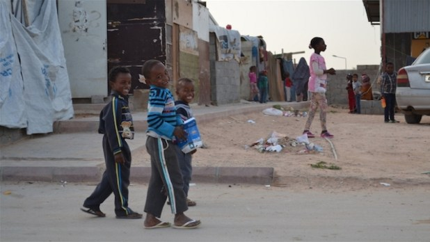 A Tawergha IDP camp on Airport Road in Tripoli, Libya.  (Photo by Mathieu Galtier/IRIN)