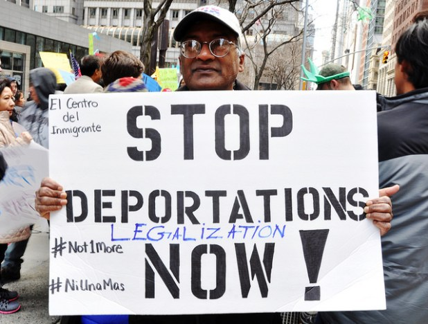 A Pakistani activist Shahid Comrade at a New York City rally demanding end to deportations. (Photo by Michael Fleshman, Creative Commons License)