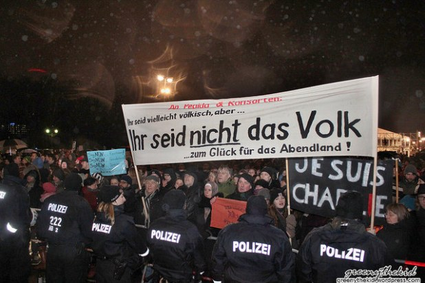 An anti-Muslim protest of Pegida movement in Berlin on January 12, 2015. (Photo by greeny thekid, Creative Commons License)