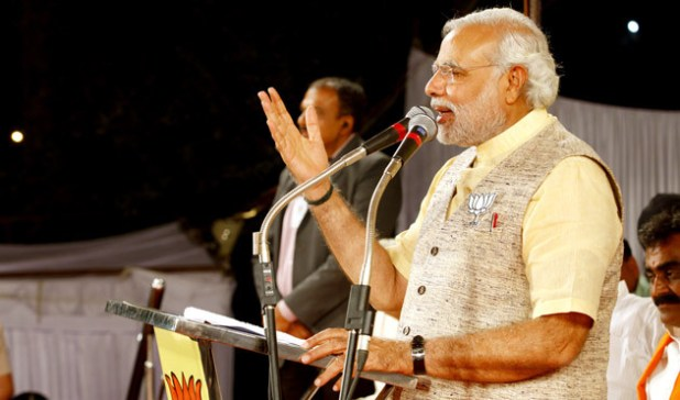 Prime Minister Narendra Modi addressing a rally in Madhya Pradesh before India's elections.