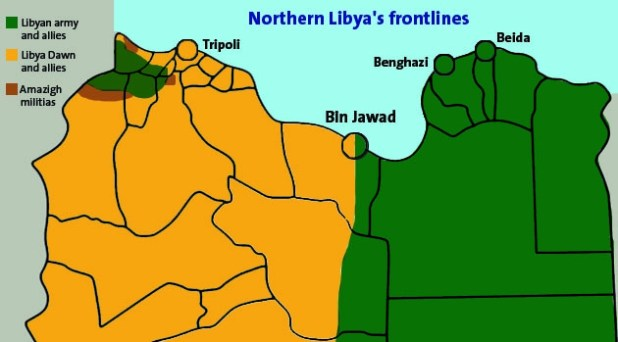 A map showing the front lines in northern Libya  (Photo by Tom Westcott/IRIN)