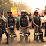 Bangladesh riot police on guard during an opposition protest. (Photo by  Joe Athialy, Creative Commons License)