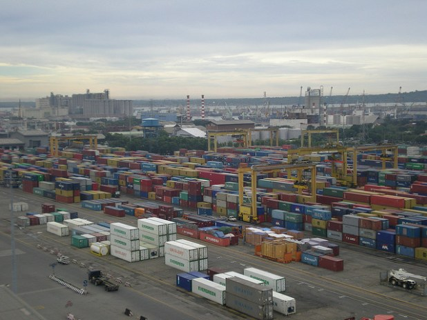 The container port of Surabaya, East Java, is Indonesia's second largest container hub after Jakarta. (Photo by BBC World Service, Creative Commons License)