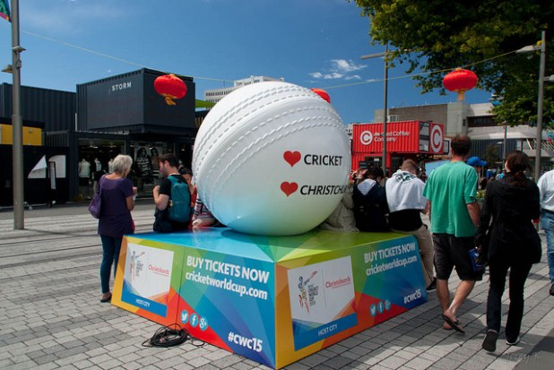 A glimpse of Cricket World Cup fever in Christchurch.  (Photo by  Jocelyn Kinghorn, Creative Commons License)