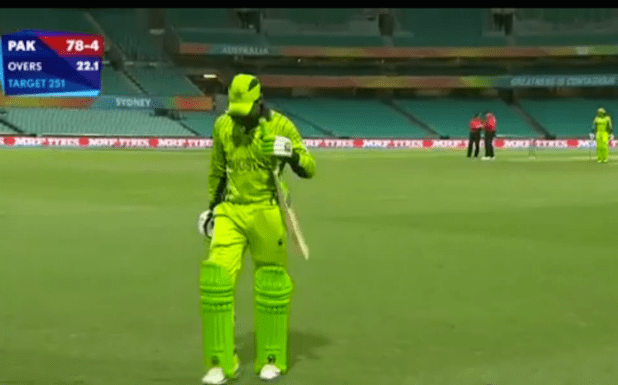 Pakistani batsman Haris Sohail returning to the pavilion after losing his wicket in the World Cup match against England. (Photo via video stream)