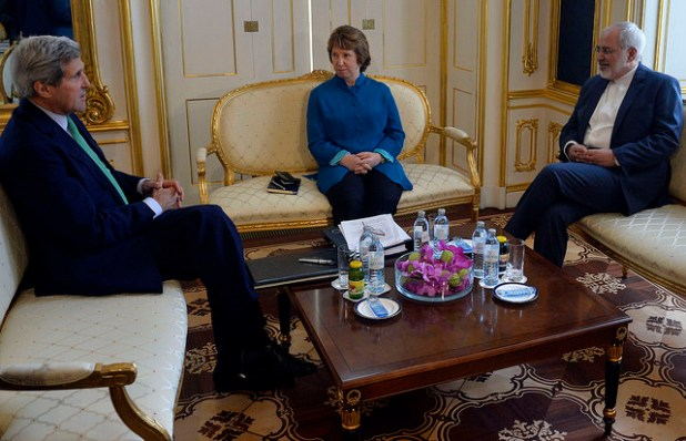 Secretary State John Kerry during a meeting with his Iranian counterpart Javad Zarif in Vienna in Oct. 2014.   (Photo by European External Action Service, CC License)