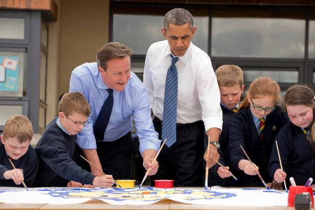 UK Prime Minister David Cameron with President Obama at Enniskillen Primary school. (Photo by UK G8, Creative Commons License)