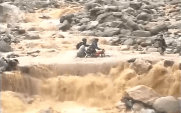 Flash floods in Pakistan's Chitral valley have destroyed much of the infrastructure. (Photo via video stream)