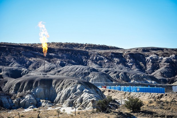 Flaring on well in Lybrook badlands. (Photo by WildEarth Guardians, Creative Commons License)