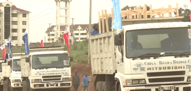 Chinese construction machinery being moved to a construction site in Angola. (Photo via video stream)