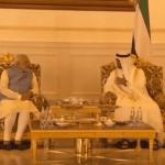 Prime Minister Narendra Modi meeting  Sheikh Mohamed bin Zayed Al Nahyan, Crown Prince of Abu Dhabi. (Photo via video stream)
