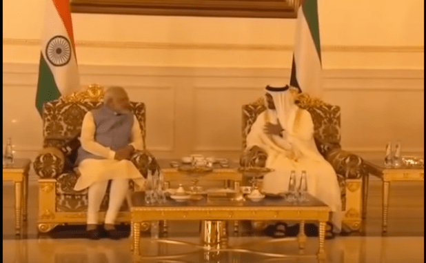 Prime Minister Narendra Modi meeting  Sheikh Mohamed bin Zayed Al Nahyan, Crown Prince of Abu Dhabi. (Photo via video stream)