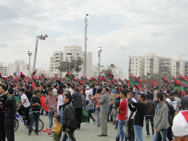 Crowds fill Benghazi's Al-Keish square to mark the country's liberation. (Photo by Magharebia, Creative Commons License)