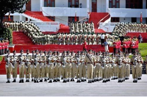 A view of cadets' passing out parade at the Pakistan Military Academy in Abbottabad, Pakistan.