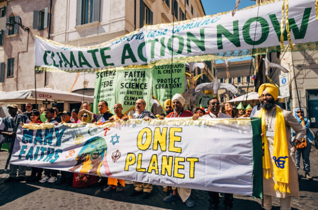 EcoSikh climate march in Rome. (Photo via ecosikh.org)