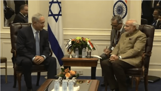 Indian Prime Minister Narendra Modi during a meeting with his Israeli counterpart in September 2014. (photo via video stream)