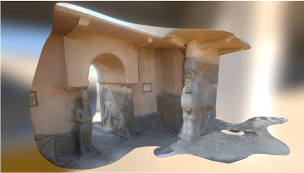 Entrance to the gate of Nimrod, destroyed by the IS group and digitally reconstructed as part of Project Mosul. (Model by ruimx from photos at projectmosul.org)