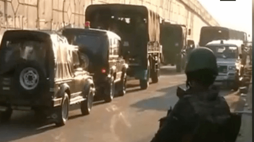 Indian military trucks move to Pathankot air force station during the terrorist attack. (Photo via video stream)