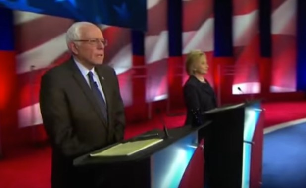 Hillary Clinton and Bernie Sanders at the MSNBC presidential debate. (Photo via video stream)
