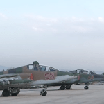 Fighter jets parked at Russian air base in Latakia, Syria. (Photo via video stream)