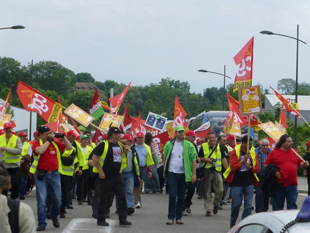 Workers rights protests in Strasbourg, France. (Photo by The S&D Group in the European Parliament, Creative Commons License)