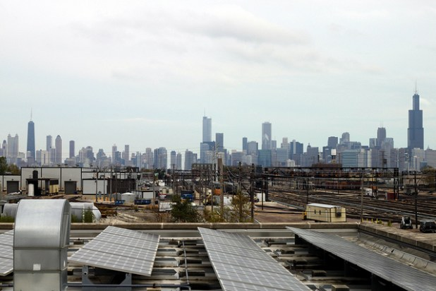 Chicago skyline from a green rooftop. (Photo by Josh Koonce, Creative Commons License)