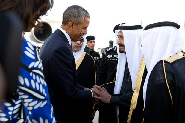 King Salman greets the President and First Lady. (Official White House Photo by Pete Souza, Creative Commons License)