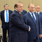 Russian President Vladimir Putin at a meeting with Pakistan's Prime Minister Nawaz Sharif. (Photo via  Russian Presidential Press and Information Office)