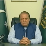 Embattled Prime Minister Nawaz Sharif delivering a prime time address on April 5 after his family's name surfaced in Panama papers. (Photo via video stream)