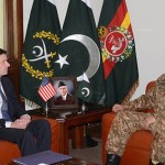 (US ambassador to Pakistan during a meeting with Pakistan's army chief General Raheel Sharif in Rawalpindi. (Photo via News International)