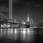 A shot of the Tribute in Light in lower Manhattan from the Brooklyn side. (Photo by marcela, Creative Commons License)