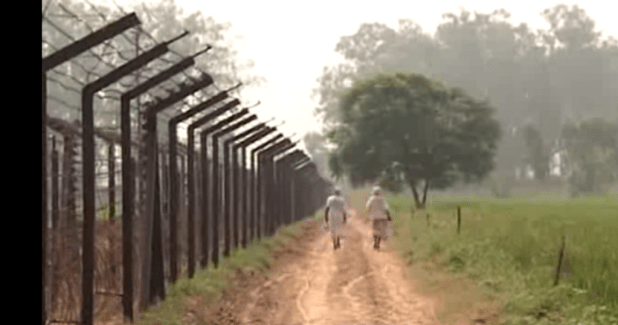 The electric fence at the India-Pakistan border. (Photo via video stream)