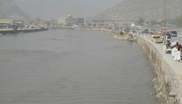 River Kabul passing through the Afghan capital. (Photo by koldo, Creative Commons License)