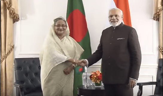 File photo of a meeting between Bangladeshi Prime Minister Sheikh Hasina Wajid and her Indian counterpart Narendra Modi in New York on September 24, 2015. (Photo via video stream)