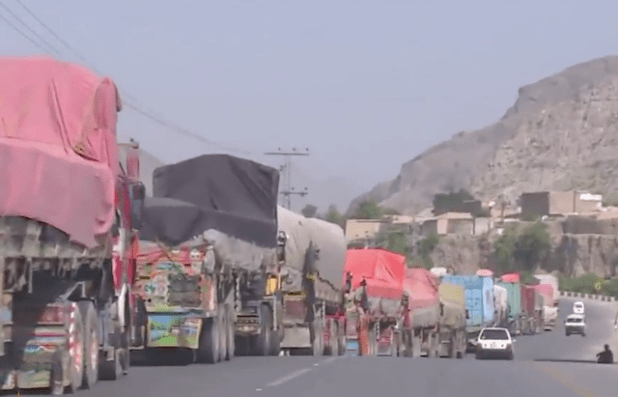Lines of trucks stranded at Torkham border crossing on Pakistani side of its border with Afghanistan.