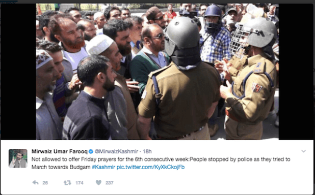 A tweet by top Kashmiri leader Mirwaiz Umer Farooq on the situation in the Indian administered Kashmir.